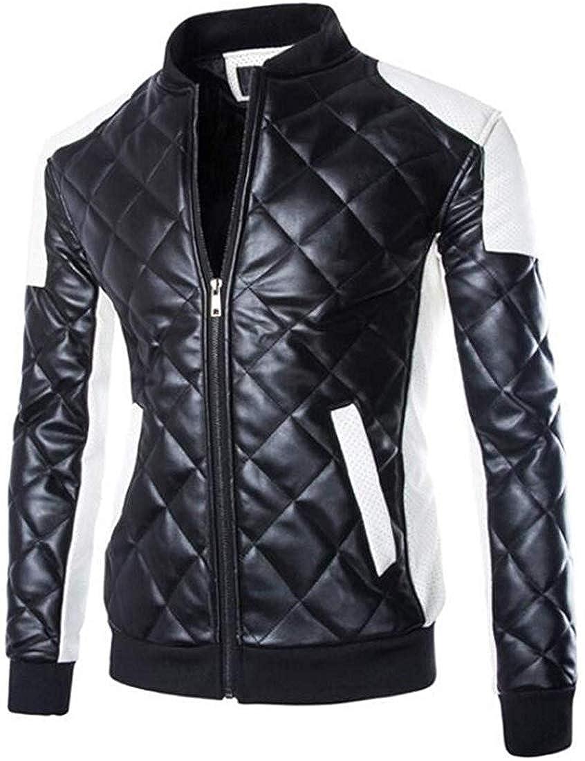 Gocgt Mens Coat Washed Plus Size Punk Diamond Winter Premium Bomber Jacket White Small