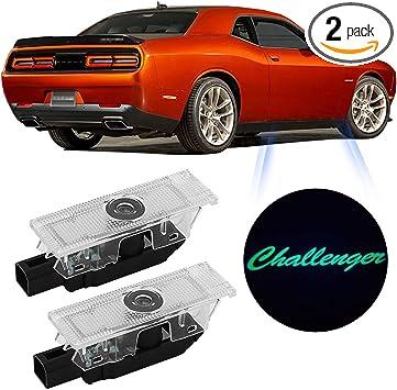 OUTOWIN LED Car Door Logo Dodge Challenger Projector Ghost Shadow Courtesy Light Welcome Light for Dodge Challenger Scat Pack RT SRT SXT GT SE 2 Pack