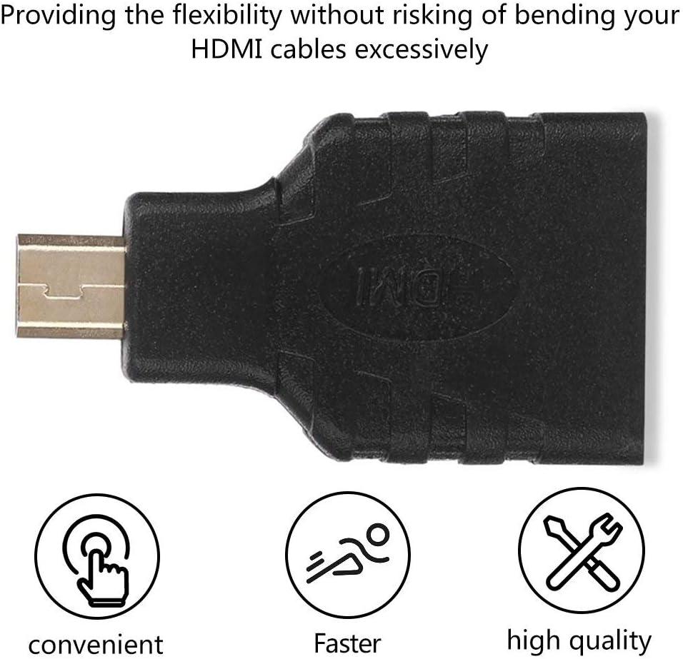 HDMI Buchse auf Micro HDMI//Type D Stecker Adapter F//DM Konverter F/ür LCD-Fernseher schwarz