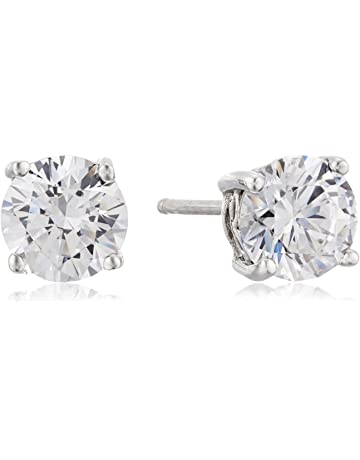 da3e5e3f77d393 Platinum or Gold Plated Sterling Silver Round-Cut Stud Earrings made with  Swarovski Zirconia