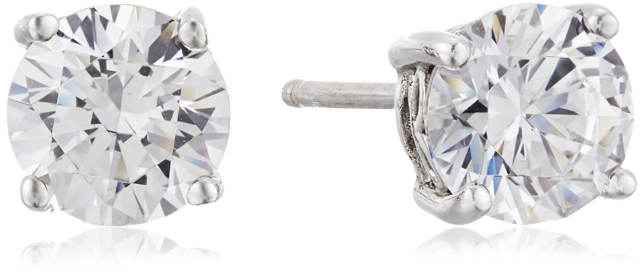 Amazon Collection Platinum Plated Sterling Silver Stud Earrings set with Round Cut Swarovski Zirconia (2 cttw)