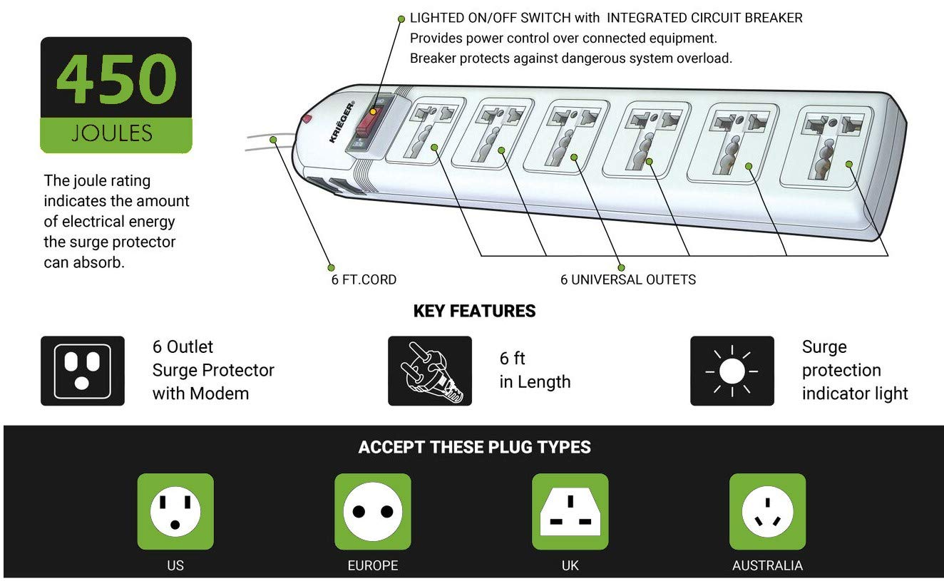 Kriger Universal Power Strip Ac 110 220 240v Surge European Wiring Diagrams Home Protector For Computer Printers 6 Outlets Kr136 Electronics