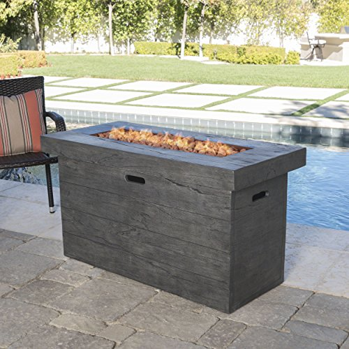 Outdoor Fire Pit Table (Crawford Outdoor Grey Rectangular Fire Pit - 50,000 BTU)