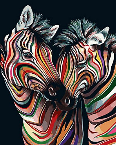 Paint by Number Kits - Colorful Zebras 16x20 inch Linen Canvas Paintworks - Digital Oil Painting Canvas Kits for Adults Children Kids Decorations Gifts (with Frame) ()