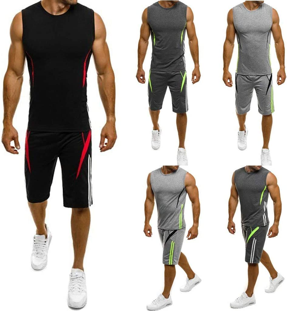 Mens Slim Sleeveless Tank Top T-Shirt Shorts Pants Suit Top Casual Blouse,Sunsee 2019 Must Have