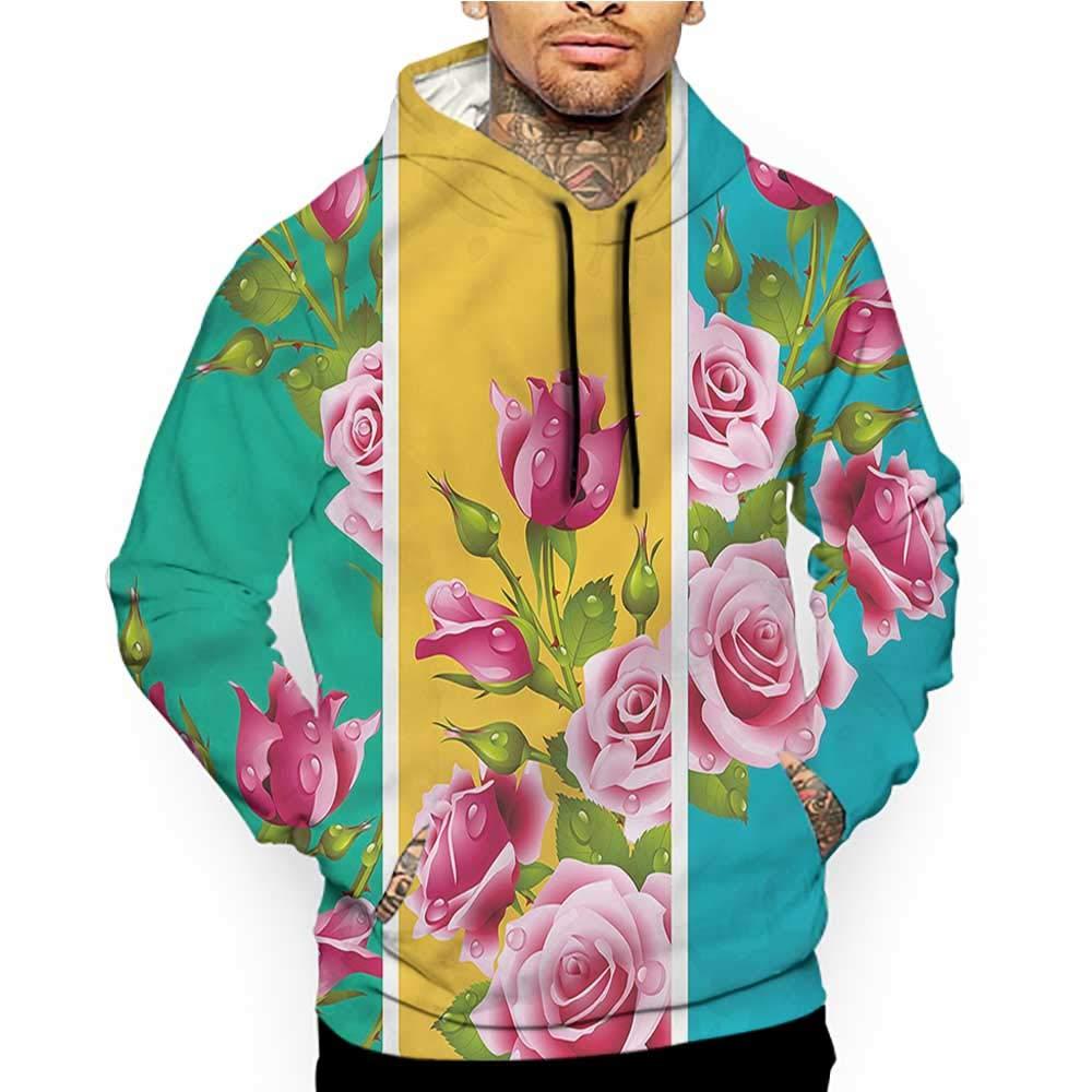 Hoodies Sweatshirt/Men 3D Print Floral,Watercolor Style Rose Bloom,Sweatshirts for Women Hoodie Pullover