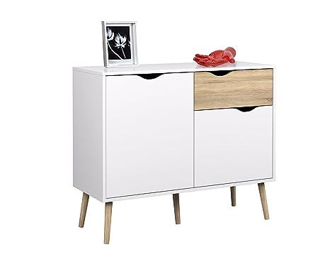 Credenza Con Rotelle : Relaxdays credenza nordica buffet design con piedi