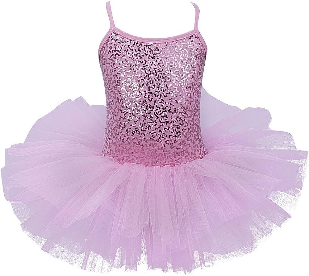 Agoky Kids Girl's Sparkling Ballet Tutu Dress Dance wear Costumes Gymnastics Leotard Gym Party