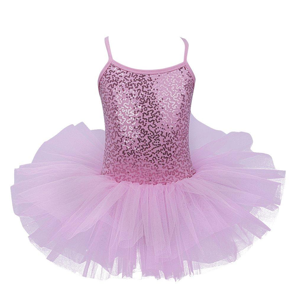 CHICTRY少女のバレリーナスパンコールバレエダンスドレスファンシーパーティーチュチュレオタードスカートコスチュームピンク6-7歳