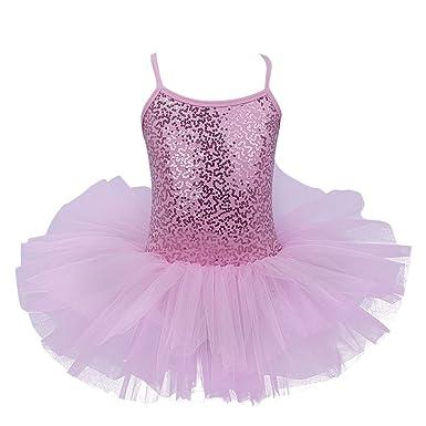 6dcbfcf515e1 dPois Little Girls Spaghetti Sequined Ballet Dance Dress Leotard ...