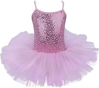 JEATHA Kids Girls Shiny Sequins Tulle Ballet Dance Tutu Dress Dancewear with Criss Cross Straps Back Gymnastic Leotard