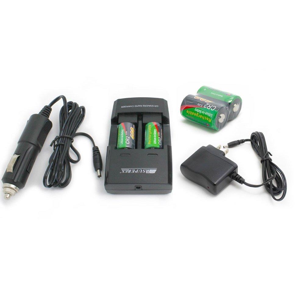 SUPEREX? 3 V/3.2 V 400 mAh CR2 15270 Batería con doble cargador ...