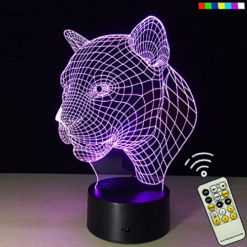 ATD® 3D Amazing Optical Illusion Creative Acrylic Leopard Head 7 Color Changing 15 Keys Remote LED Desk Lamp Night Light (Leopard Acrylic)