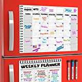 agenda board - Magnetic Monthly Planner Board Set for Kitchen Fridge - Large Dry Erase Calendar Monthly Organizer with To Do List Notepad and Dry Erase Weekly Planner Whiteboard with Reusable Grocery List Magnet Pad
