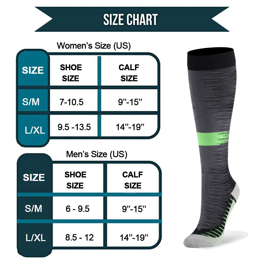 Compression Socks for Men /& Women Edema 20-30mmHg 2 to 8 Pairs Compression Stockings for Runners