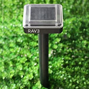 RAV3 Mole & All Other Burrowing Animals' Heavy-Duty Repellent Stakes   Pack of 4   Solar Powered   Ultrasonic   Weatherproof