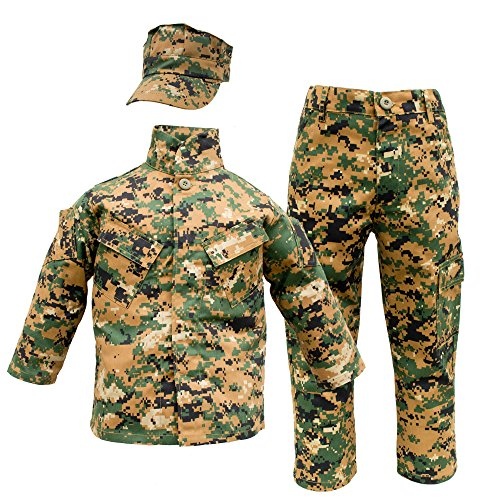 Marines Uniform Costume (Kids USMC 3 pc Woodland Camo United States Marine Corps Uniform (Medium 10-12))