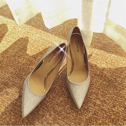 Qiqi Scarpette da singole 37 6CM sposa scarpe argento sposa alto scarpe sposa femminili col Xue da scarpe con scarpe da da sposa tacco Scarpe fini scarpe femminili d5SxqCgn