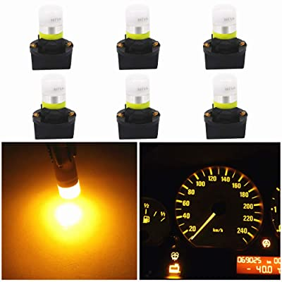 WLJH Yellow T10 Led 194 2825 168 W5W Bulb Interior Dashboard Dash Lights Instrument Panel Cluster Indicator Lamp Twist Socket PC195 PC194 PC168, Pack of 6: Automotive