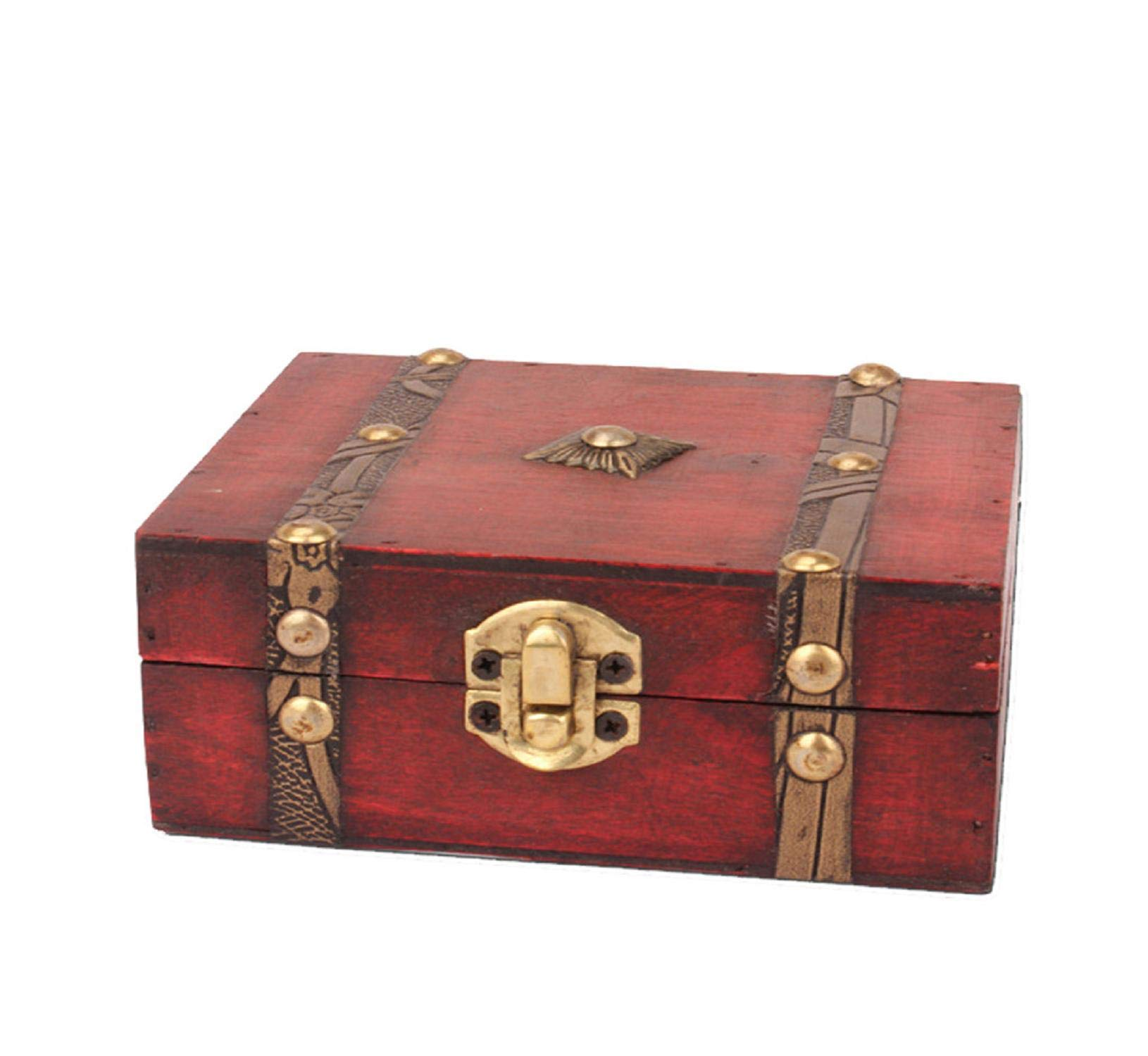 Vertily Jewelry Storage,Jewelry Box Vintage Wood Handmade Box with Mini Metal Lock for Storing Jewelry Treasure Pearl Home Decoration