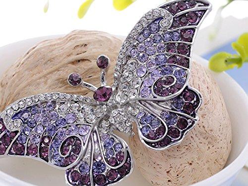 Empress Monarch Winged Butterfly Swarovski Crystal Rhinestones Brooch Pin - Purple, Green or Grey!