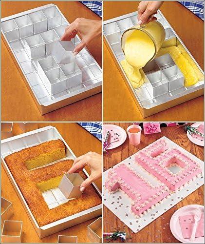 Baker Boutique Aluminium Zahlenkuchenform antihaftbeschichtet verstellbar DIY Kuchen Form Alphabet Kuchenform mit Buchstaben und Zahlendiagrammen sicher Silber einfach zu bedienen,