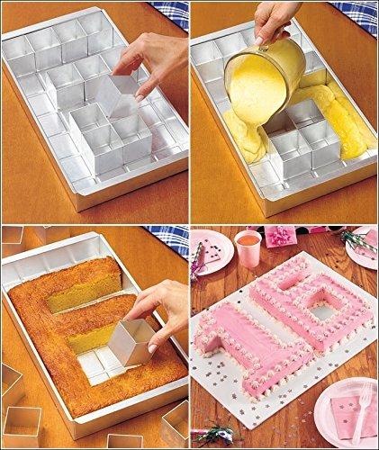 Anokay aluminio Bandeja de horno rectangular Torta bandeja ajustable antiadherente para grandes letras alfabeto números DIY