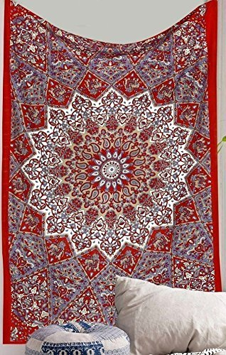 Craftozone Blue Ombre Hippie Indian Mandala Tapestry Throw Wall Hanging Gypsy Bedspread (Grey Star)