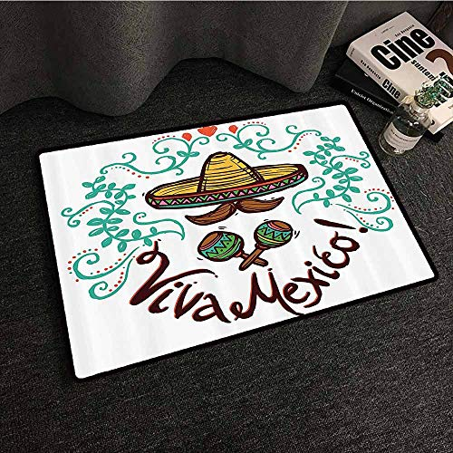 Collection Floral Sketch Print - Mexican Decorations Collection Modern Door mat Mexico Style Sketch Floral Ornament Typography Decorating Hispanic Art Print All Season General W30 xL39 Brown Mint Coral