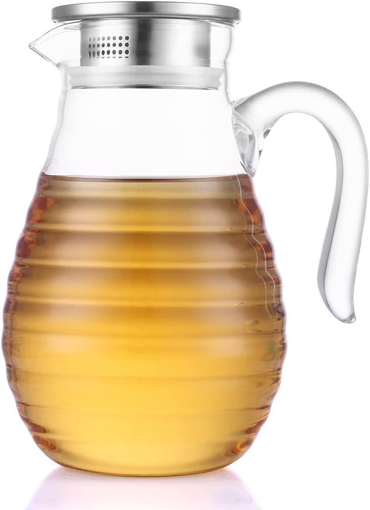 JIAQI Glass Pitcher with Lid and Spout 62 Ounces - Unique Wave Pattern - Heat Resistance Water Pitcher for Hot/Cold Water, Homemade Juice & Iced Tea, Brush and Coaster Included