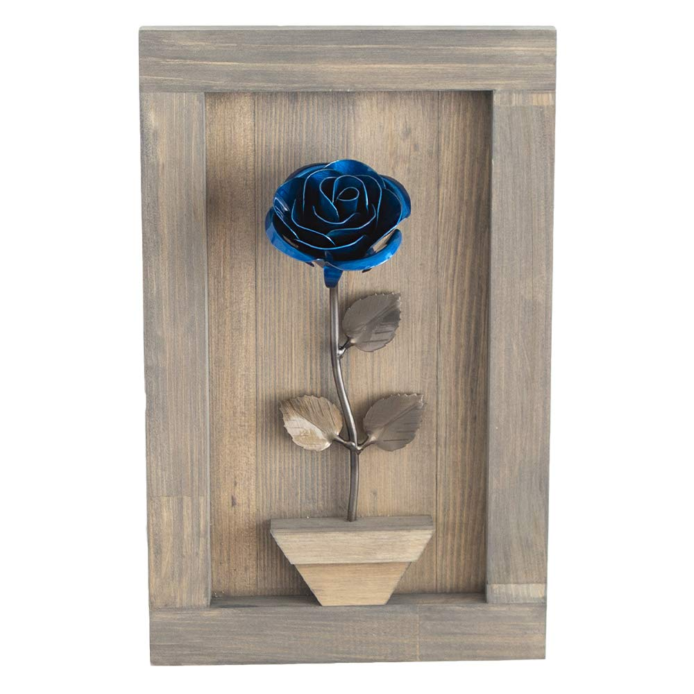 Hand-Forged Wrought Iron Blue Metal Rose with Wood Hanging