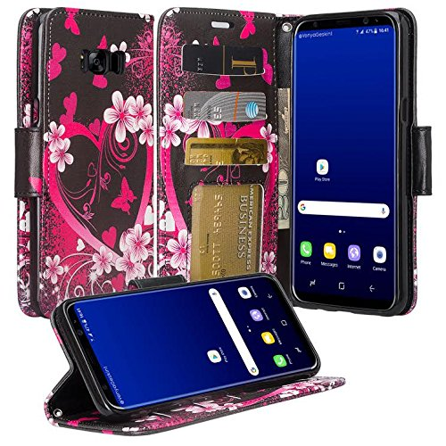 GALAXY WIRELESS for Galaxy S8 Plus Case, Samsung Galaxy S8 Plus Wallet Case [Kickstand] Pu Leather Flip Folio Cover with Wrist Strap&ID Slots For Galaxy S8 Plus Phone Case - Hot Pink Hearts