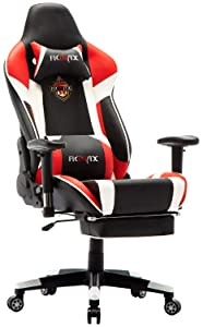 Ficmax Ergonomic Massage Gaming Chair Reclining Racing Office Chair High Back PU Leather Computer Desk Chair with Footrest Big and Tall Computer Gaming Chairs with Headrest and Lumbar Support