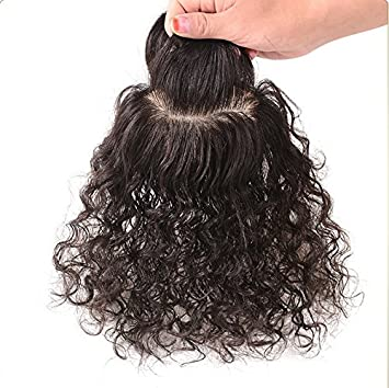 9 14 Curly Human Hair Topper For Thinning Hair Loss Hair And White Hair Toppers Clip In Top Closure With Bangs For Women Mediuml Or Large Hair Loss