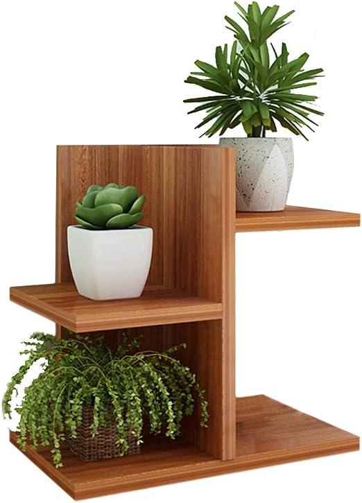 likeluk Flores Escaleras de madera, 3 Tier Madera de estantería madera Jardín Casa Flores balcón Estantería