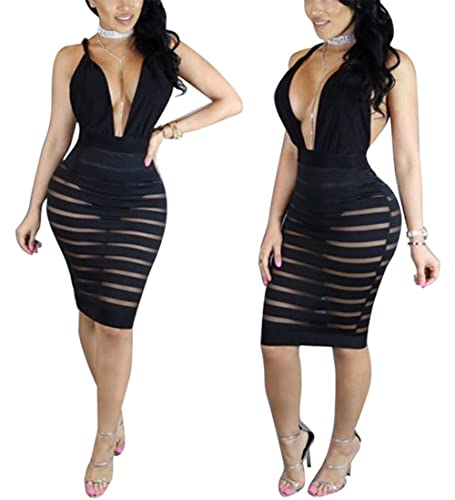 Womens Sexy Deep V-neck Backless Crossover See Through Bodycon Party Club Midi Dress