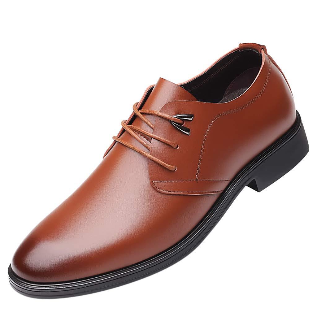 HOSOME Fashion Men Business Leather Shoes Casual Round Toe Lace-UP Shoe Male Suit Shoes Men's Business Shoe Yellow