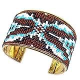 Brown White NonNative Craft Beaded Bracelet Cuff B53/3 Multicolor