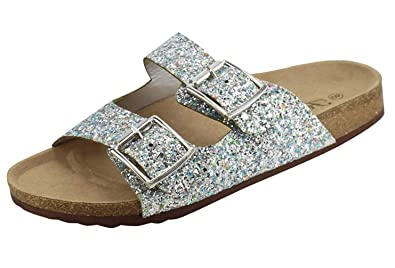 95c74fb25 Forever Womens Open Toe Double Buckle Glitter Slide Flat Sandal Flip Flops  Slipper Shoes 6 Silver