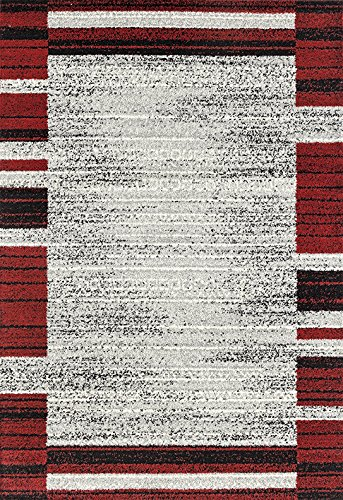 ADGO Milano Collection Modern Contemporary Geometric Framed Striped Design Jute Backed Area Rugs High Pile Soft and Fluffy Indoor Floor Rug, Living Dining Bedroom Silver Red, 8