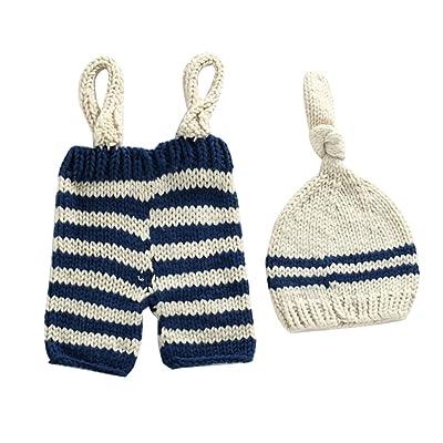 Zhhlinyuan Mode Newborn Baby Crochet Knit Photo Photography Prop Hat Pants Set Costume Clothes 2162