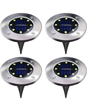 4Pcs 4 LED Solar Powered Ground Lights Outdoor lamp Waterproof LED Solar Path Lights Garden Landscape Spike Lighting for Yard Driveway Lawn Pathway