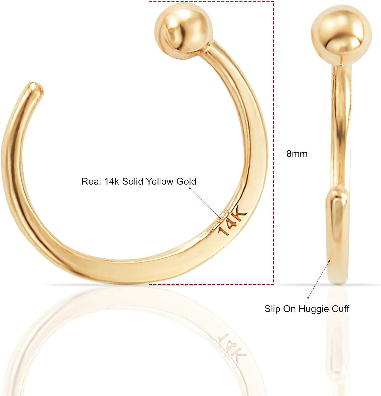 Kid Ladies Men Real 14k White Gold 3 MM Thickness Huggies Hoop Earring 10 MM