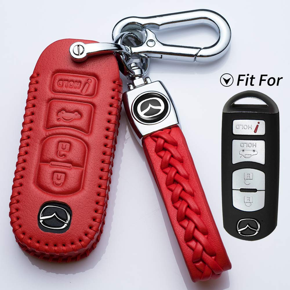 Vitodeco Genuine Leather Smart Key Fob Case Cover Protector for Mazda 3 Atenza Axela CX-5 CX-7 MX-5 Miata 6 4 Buttons, Red CX-9