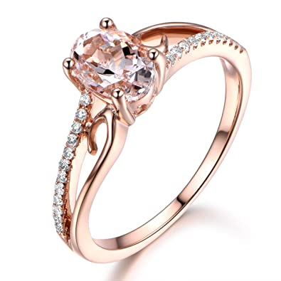 Pink Morganite Engagement Ring Solid 14k Rose Gold Diamond Art Deco