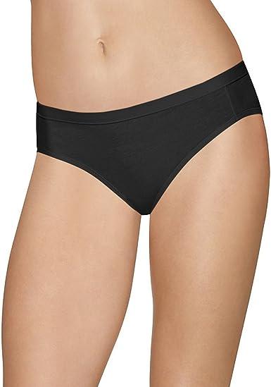 Hanes Ultimate Womens Cotton Stretch Cool Comfort Bikini 4-Pack 5 Black