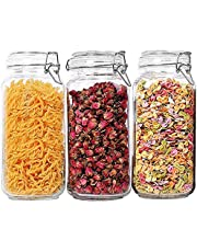 T4U 78oz Airtight Glass Canister Set of 3 with Lids Food Storage Jar Square - Storage Container with Clear Preserving Seal Wire Clip Fastening for Kitchen Canning Cereal,Pasta,Sugar,Beans,Spice