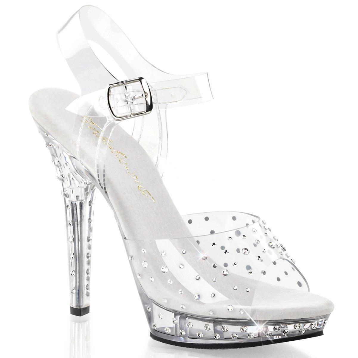 2ad2fe968f9 Womens Wonderful Strappy Rhinestone Sandals Shoes with 5 Inch Clear Heels