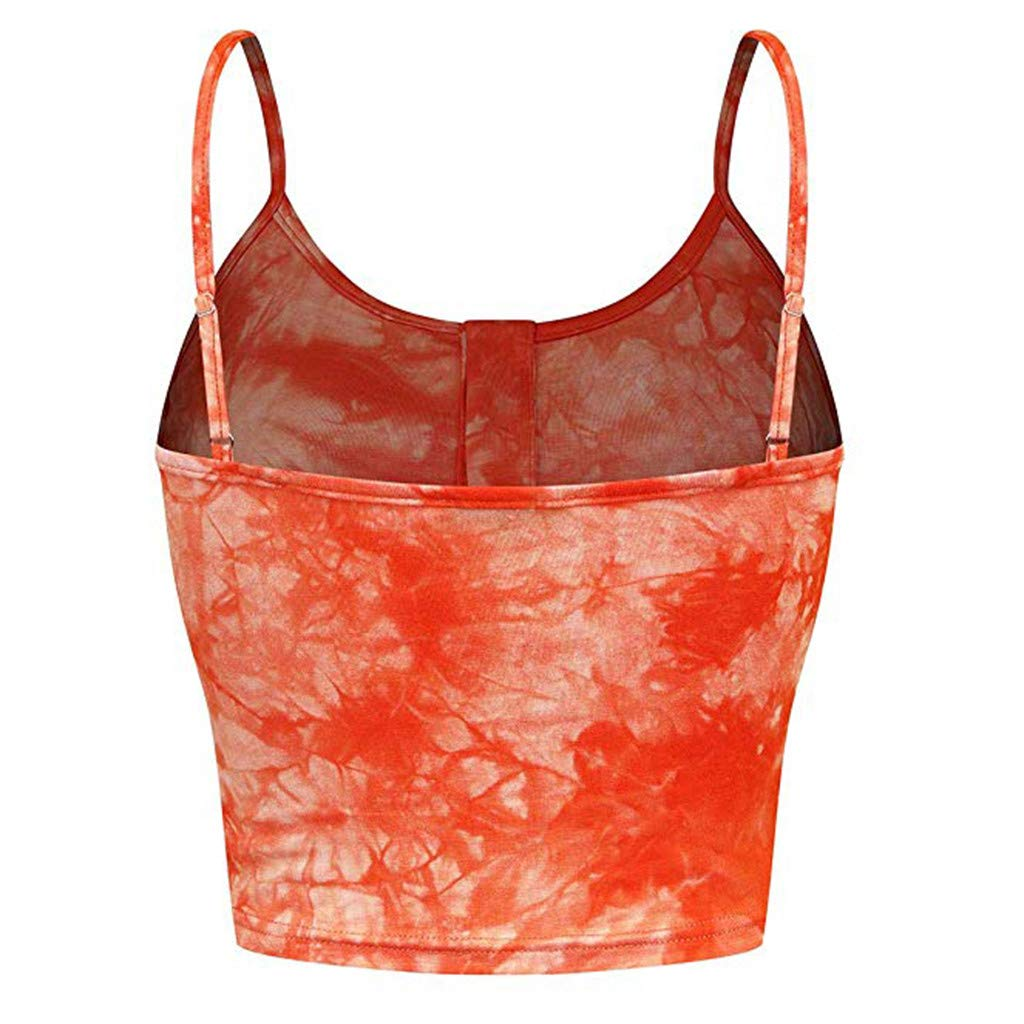 AIEson Womens Sleeveless O-Neck Off Shoulde Button Up Casual Print Crop Top Vest Cami Tank Top Orange