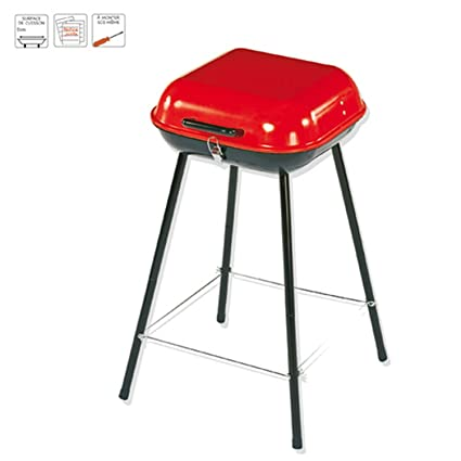 BBQ Barbacoa de carbón Bragado transportable en maletín - Acero - Color ROJO